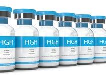 3d rendem de tubos de ensaio de HGH sobre o branco Fotos de Stock