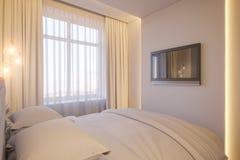 3d rendem de um design de interiores de um quarto minimalista branco Fotografia de Stock Royalty Free