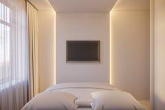 3d rendem de um design de interiores de um quarto minimalista branco Foto de Stock Royalty Free