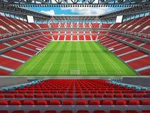 3D rendem de um estádio de futebol do futebol da grande capacidade com cadeiras vermelhas ilustração do vetor