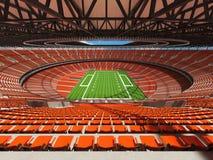 3D rendem de um estádio de futebol redondo com assentos alaranjados Imagens de Stock Royalty Free