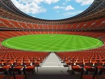 3D rendem de um estádio redondo do grilo com assentos e as caixas alaranjados do VIP Fotografia de Stock