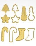 3d rendem de um grupo de cortadores da cookie do Natal Fotografia de Stock