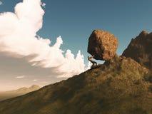 3D rendem de um homem que empurra uma rocha acima de uma montanha ilustração do vetor