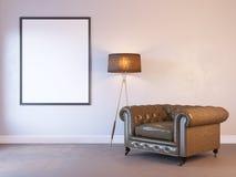 3d rendem de um modelo interior com um cartaz ilustração stock