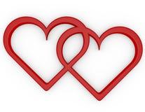 3d rendem de um par de corações abertos Imagens de Stock