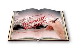 3D rendem de um photobook aberto com ` sobre edições do asbesto - ` m do informe anual do ` da escrita da mão de I o proprietário Imagem de Stock Royalty Free