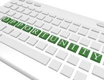 3d rendem de um teclado que soletra para fora a oportunidade Fotografia de Stock Royalty Free