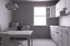 3D rendem de uma cozinha Imagens de Stock