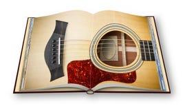 3D rendem de uma guitarra acústica de madeira no isolat aberto do photobook ilustração do vetor