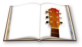 3D rendem de uma guitarra ac?stica de madeira no photobook aberto isolado no fundo branco - eu sou o propriet?rio dos direitos de ilustração stock