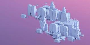 3d rendem de uma mini cidade, tipografia 3d da nova york do nome ilustração royalty free