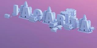 3d rendem de uma mini cidade, tipografia 3d do jacarta do nome ilustração royalty free