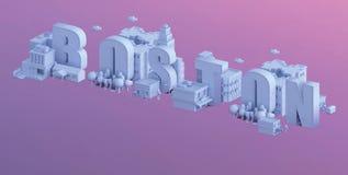 3d rendem de uma mini cidade, tipografia 3d do nome Boston Imagens de Stock Royalty Free
