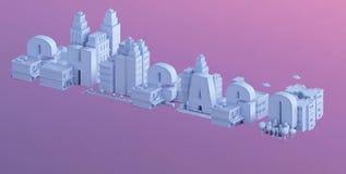 3d rendem de uma mini cidade, tipografia 3d do nome Chicago ilustração royalty free