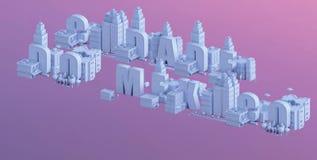 3d rendem de uma mini cidade, tipografia 3d do nome do cidade fazem México Imagens de Stock