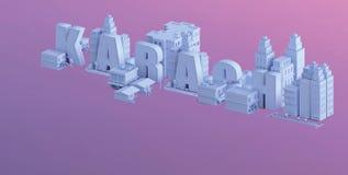 3d rendem de uma mini cidade, tipografia 3d do nome Karachi ilustração do vetor