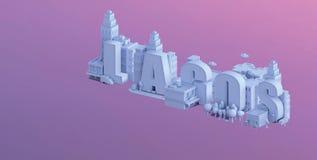 3d rendem de uma mini cidade, tipografia 3d do nome lagos ilustração do vetor
