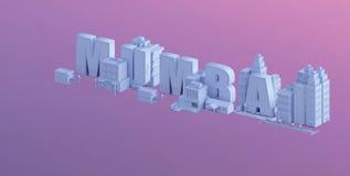 3d rendem de uma mini cidade, tipografia 3d do nome mumbai ilustração stock