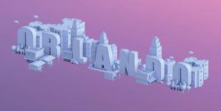 3d rendem de uma mini cidade, tipografia 3d do nome orlando ilustração do vetor