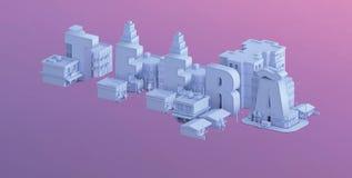 3d rendem de uma mini cidade, tipografia 3d do teera do nome ilustração royalty free