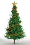 3d rendem de uma árvore de Natal decorada Fotos de Stock