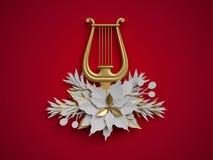 3d rendem, decoração floral do Natal, harpa, instrumento musical Imagens de Stock Royalty Free