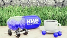 3d rendem do comprimido grande do hmb, dos dois pesos e de uma xícara de café Nutrição do esporte para a ilustração do halterofil fotografia de stock royalty free