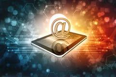 3d rendem do conceito do Internet do email no fundo da tecnologia Foto de Stock