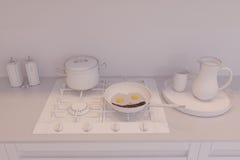 3d rendem do design de interiores da cozinha em um estilo moderno Imagem de Stock Royalty Free