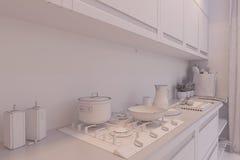 3d rendem do design de interiores da cozinha em um estilo moderno Foto de Stock