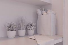 3d rendem do design de interiores da cozinha em um estilo moderno Fotografia de Stock