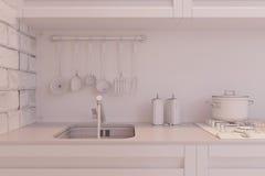3d rendem do design de interiores da cozinha em um estilo moderno Fotos de Stock Royalty Free