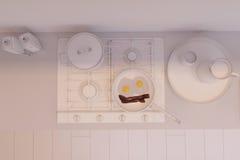 3d rendem do design de interiores da cozinha em um estilo moderno Imagens de Stock Royalty Free