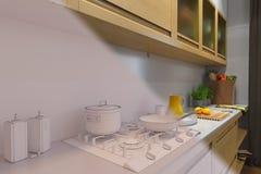 3d rendem do design de interiores da cozinha em um estilo moderno Imagem de Stock