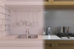 3d rendem do design de interiores da cozinha em um estilo moderno Foto de Stock Royalty Free