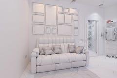 3d rendem do design de interiores da sala de visitas e do salão em um st moderno Imagens de Stock Royalty Free