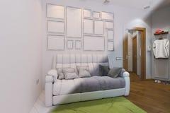 3d rendem do design de interiores da sala de visitas e do salão em um st moderno Foto de Stock