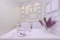 3d rendem do design de interiores da sala de visitas em um estilo moderno Fotos de Stock Royalty Free