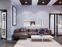 3d rendem do design de interiores de uma sala de visitas ilustração royalty free