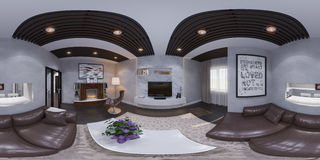 3d rendem do design de interiores de uma sala de visitas Foto de Stock Royalty Free
