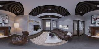 3d rendem do design de interiores de uma sala de visitas Fotos de Stock