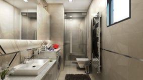 3D rendem do design de interiores do banheiro Imagens de Stock Royalty Free
