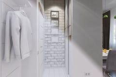 3d rendem do design de interiores do salão de entrada em um estilo moderno Imagens de Stock Royalty Free