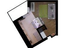 3d rendem do design de interiores pequeno do apartamento em um estilo moderno Fotos de Stock