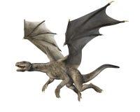 3D rendem do dragão da fantasia em voo ilustração royalty free