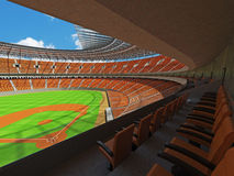 3D rendem do estádio de basebol com assentos e as caixas alaranjados do VIP Imagem de Stock Royalty Free