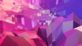 3d rendem do fundo geométrico abstrato com cores modernas do inclinação no baixo estilo poli superfície 3d com vermelho azul agra ilustração stock