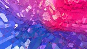 3d rendem do fundo geométrico abstrato com cores modernas do inclinação no baixo estilo poli superfície 3d com vermelho azul agra ilustração royalty free