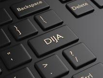 3d rendem do teclado de computador com o botão do índice de DJIA Imagem de Stock